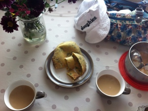 Baker break - hot wild garlic naam from the fire dunked in chai tea