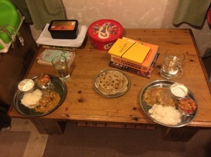 Turkey curry (feels slighly festive still), rice, pickle and homemade sourdough chapatis - treat!