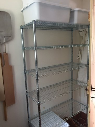 Wire shelving for baskets, loaves - dough crates up top