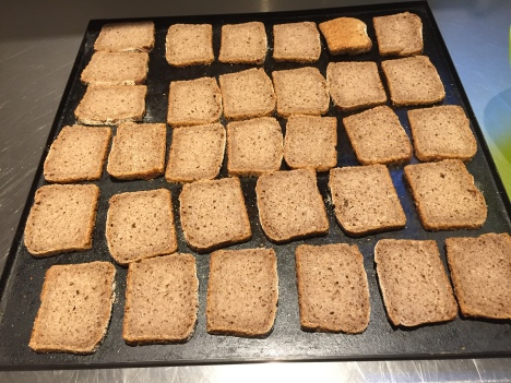 Slicing and toasting waste rye bread